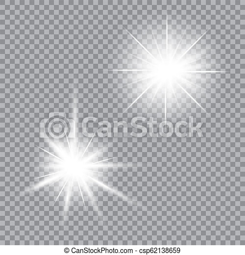 Bright light glare on a transparent background. Vector illustration for your design. - csp62138659