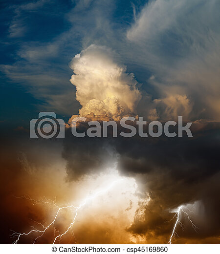 Bright lightning in dark stormy sky, weather forecast concept - csp45169860