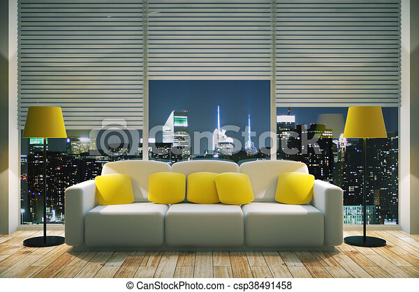 Bright Living Room At Night