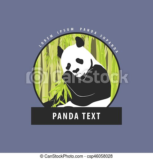 Bright Logo With A Beautiful Panda Panda In Bamboo Foliage