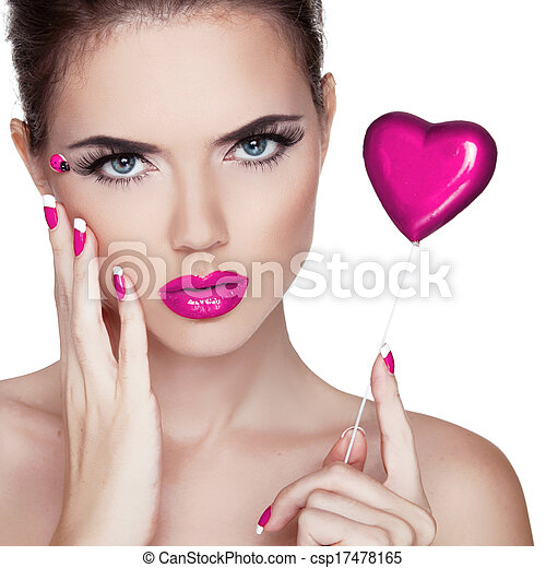Bright makeup. Beauty Portrait. Beautiful  Woman Touching her Face. Perfect Fresh Skin. Pure Beauty Model. Skin Care Concept  - csp17478165