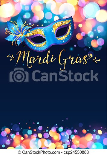 Bright Mardi Gras poster template with bokeh effect lights and blue carnival mask - csp24550883
