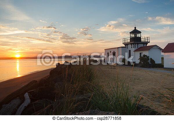 Bright Orange Sunrise Puget Sound Point No Point Lighthouse - csp28771858