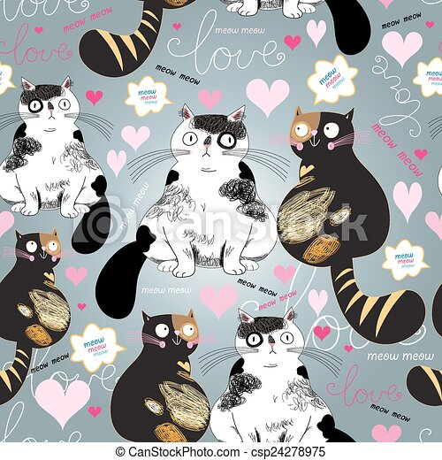 bright pattern with enamored cats - csp24278975