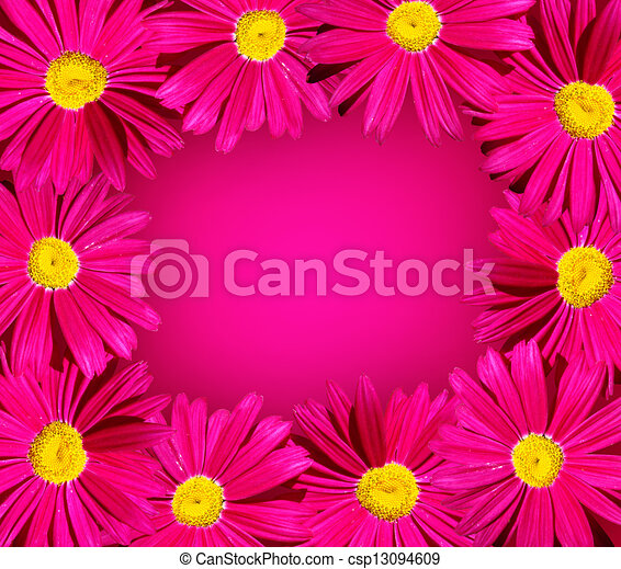 Bright pink flower frame bright pink daisy flower frame stock bright pink flower frame csp13094609 mightylinksfo Choice Image