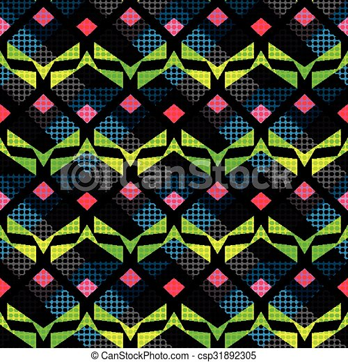 bright psychedelic abstract geometric seamless background - csp31892305