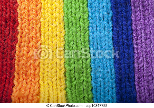 Bright rainbow knitted scarf - csp10347788