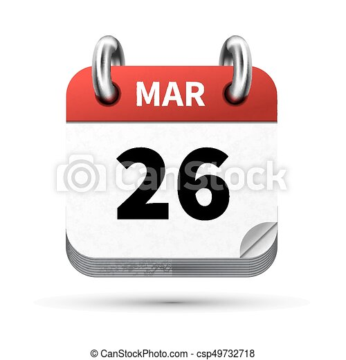 Calendrier Digital.Bright Realistic Icon Of Calendar With 26 March Date Isolated On White
