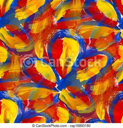 Bright Red Blue Yellow Abstract Background Seamless Gouache Canstock