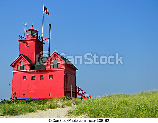 bright red lighthouse - csp4339162