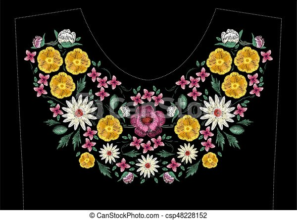 Bright Satin Stitch Embroidery Design With Flowers Folk Line Floral