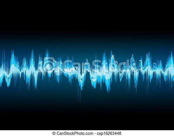 Bright sound wave on a dark blue. EPS 10 - csp16263448