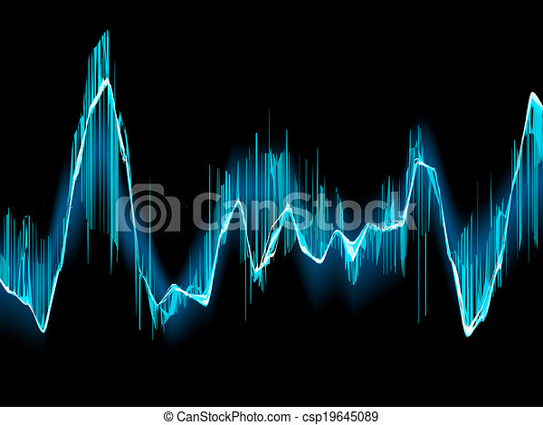 Bright sound wave on a dark blue. EPS 10 - csp19645089