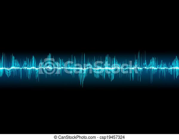 Bright sound wave on a dark blue. EPS 10 - csp19457324