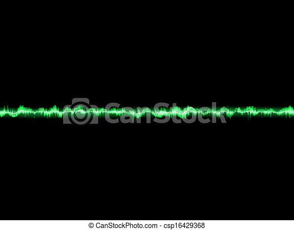 Bright sound wave on a dark green. EPS 10 - csp16429368