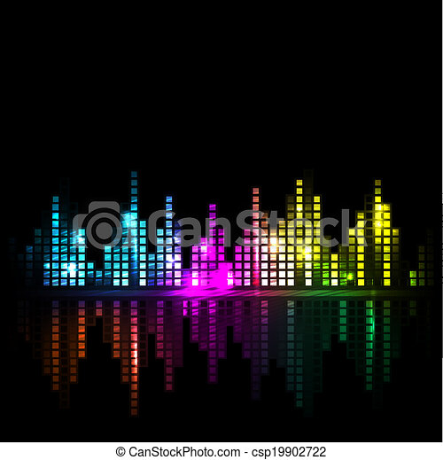 Bright sound wave or cityscape background - csp19902722
