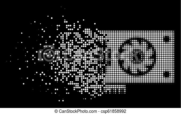 Bright Sparkle Pixelated Halftone Video GPU Card Icon