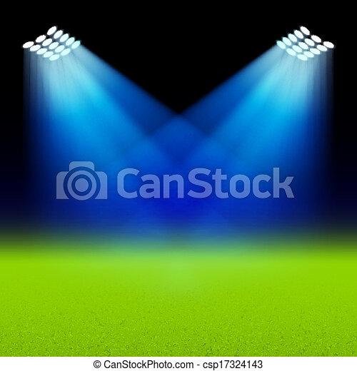 Bright spotlights illuminated green - csp17324143