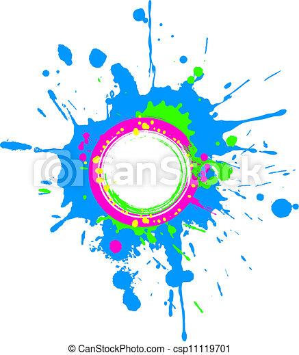 Bright spring circular grunge frame - csp11119701