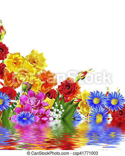 Bright Spring Flowers On A White Background