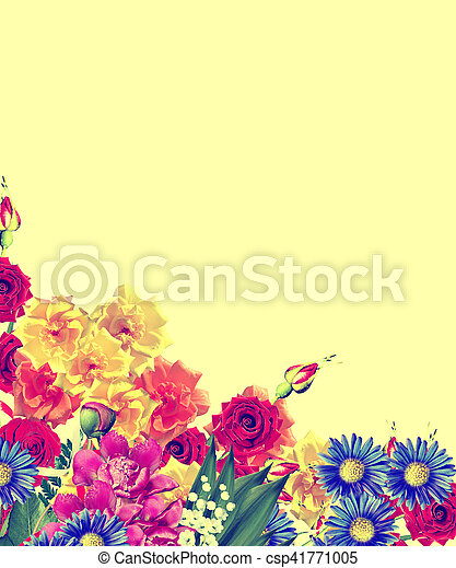 Bright Spring Flowers On A Yellow Background