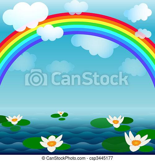Bright spring water background - csp3445177