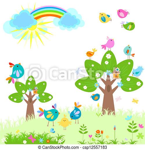 bright spring with rainbow - csp12557183