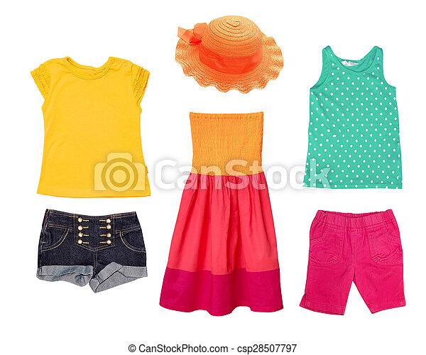 b6f1b774da Bright summer fashion kid girl clothing. Summer bright female kid ...