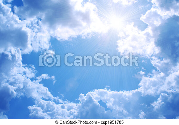 Bright sun in the blue sky - csp1951785