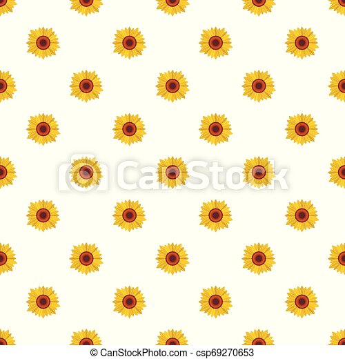 Bright sunflower pattern seamless vector - csp69270653