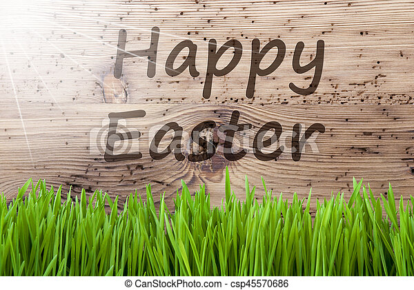 Bright Sunny Wooden Background, Gras, Text Happy Easter - csp45570686
