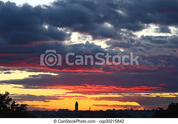 bright sunset over the city - csp30215842