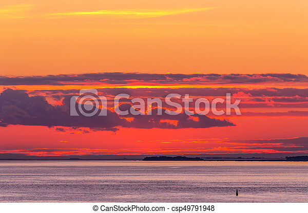 bright sunset with clouds - csp49791948
