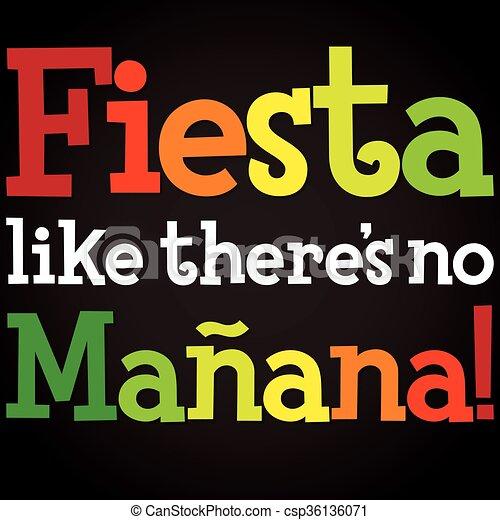 Bright typographic Fiesta card in vector format. - csp36136071