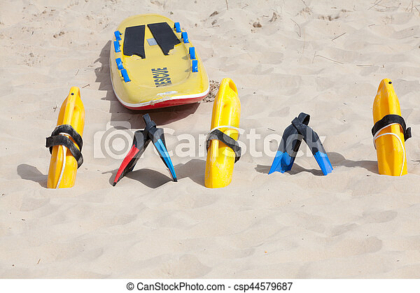 Bright yellow flotation devices and rescue equipment - csp44579687