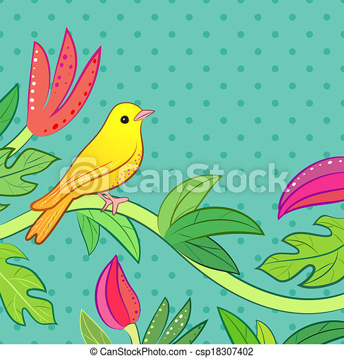 Bright yellow, orange little tropical forest bird and wild green tree and red, pink flower on dot background. Vector illustration for pretty beautiful design. Hand drawn card with place for text. - csp18307402