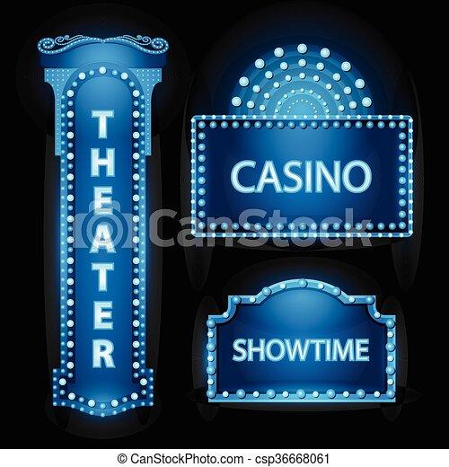 Brightly blue theater glowing retro cinema neon sign - csp36668061