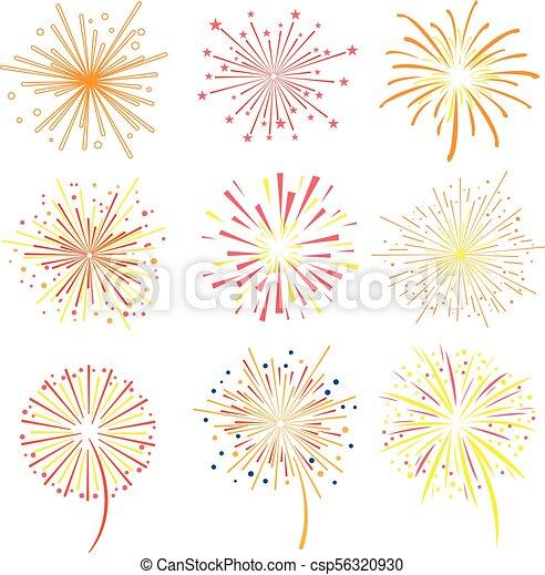 Brightly celebration fireworks set, holiday and party firework design elements vector illustration - csp56320930