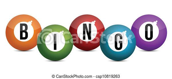 brightly coloured bingo balls - csp10819263