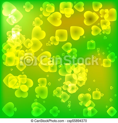 Brightly green texture of card suits in a magical light style. - csp55894370