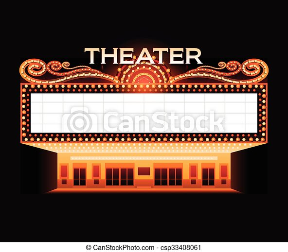 Brightly theater glowing retro cinema neon sign - csp33408061