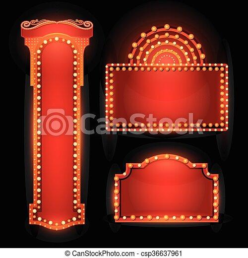 Brightly theater glowing retro cinema neon sign - csp36637961