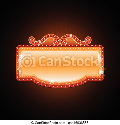 Brightly theater glowing retro cinema neon sign - csp46036556