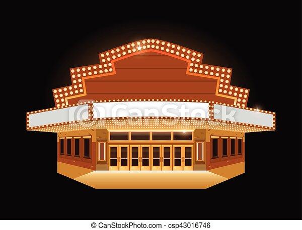 Brightly theater glowing retro cinema neon sign - csp43016746