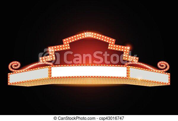 Brightly theater glowing retro cinema neon sign - csp43016747