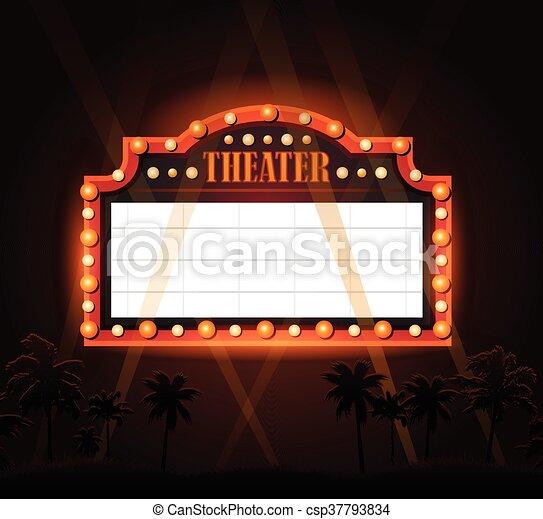 Brightly theater glowing retro cinema neon sign - csp37793834