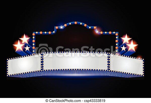 Brightly theater glowing retro cinema neon sign - csp43333819