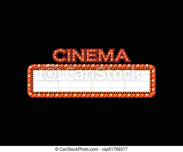Brightly theater glowing retro cinema neon sign - csp51769317