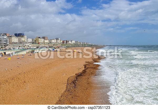 Brighton beach on a windy day - csp37351123
