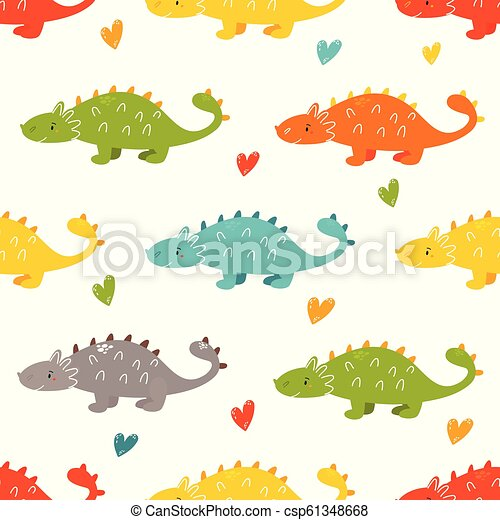 Brigt seamless pattern with cute dinos - csp61348668